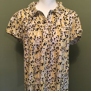 Style&Co XL yellow and black shirt with snap front